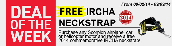 Get free 2014 IRCHA/Scorpion neckstrap buy purchasing ANY Scorpion motor!