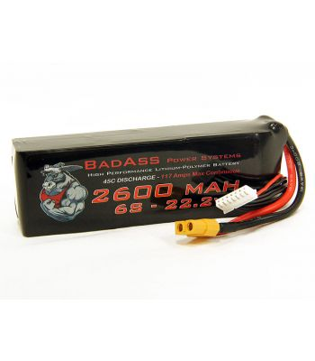 BadAss 45C 2600mah 6S LiPo Battery