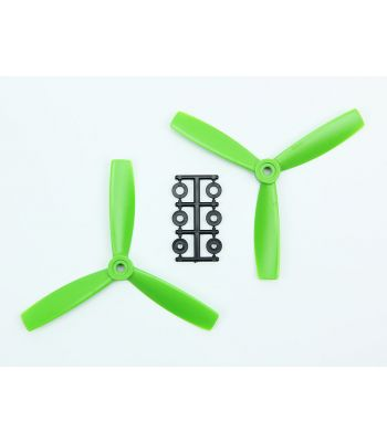 HQ 5x4.5 Bull-Nose Prop, Green, 3-Blade, Normal Rotation (2-Pack)