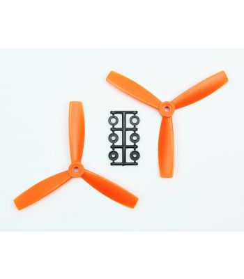 HQ 5x4.5 Bull-Nose Prop, Orange, 3-Blade, Normal Rotation (2-Pack)