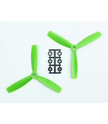 HQ 5x4.5 Bull-Nose Prop, Green, 3-Blade, Reverse Rotation (2-Pack)