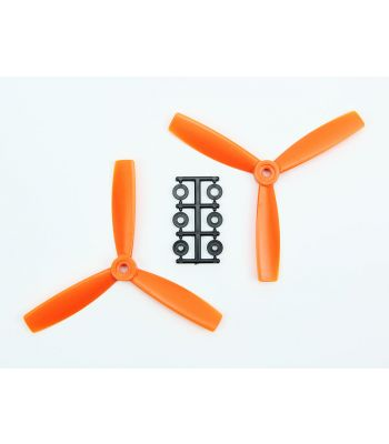 HQ 5x4.5 Bull-Nose Prop, Orange, 3-Blade, Reverse Rotation (2-Pack)