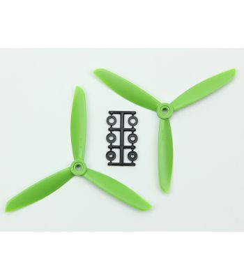 HQ 6x4.5 Prop, Green, 3-Blade, Reverse Rotation (2-Pack)