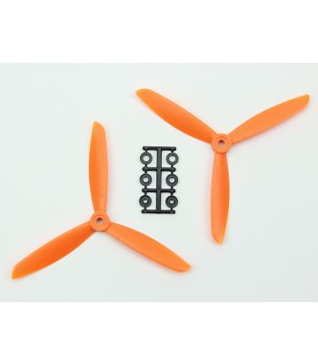 HQ 6x4.5 Prop, Orange, 3-Blade, Reverse Rotation (2-Pack)